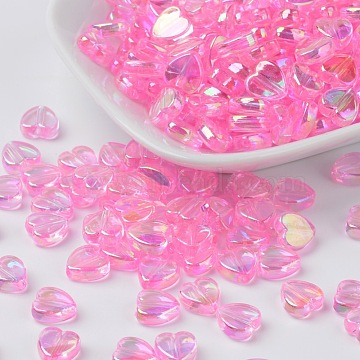 Eco-Friendly Transparent Acrylic Beads, Heart, Pink, AB Color, about 8mm in diameter, 3mm thick, hole: 1mm(X-PL539-810)