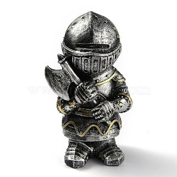 Resin Knight Guard Home Display Decorations, Antique Silver & Golden, 76x60x125mm(DJEW-B003-05)