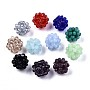 Glass Round Woven Beads, Cluster Beads, Faceted, Mixed Color, 11~12mm, Hole: 1.5mm, Beads: 3x2.5mm