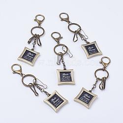 Fermoirs clés en alliage, avec mousquetons en alliage, fermoirs de fer, porte-clés en fer et chaînes de fer, Cadre photo, bronze antique, 140mm(KEYC-D059-02)