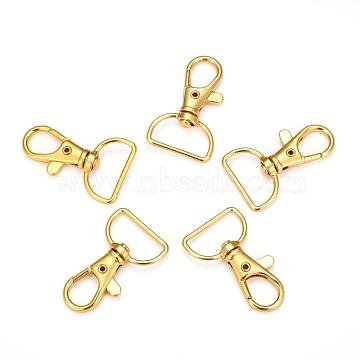 Zinc Alloy Swivel Lobster Claw Clasps, Swivel Snap Hook, Golden, 38x24mm, Hole: 8x20mm(E341-8-G)