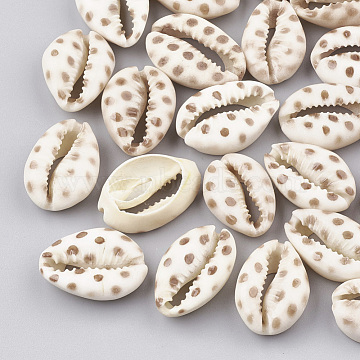 Printed Natural Cowrie Shell Beads, No Hole/Undrilled, Camel, 20~26x13~18x5~7mm(X-SHEL-S274-02E)