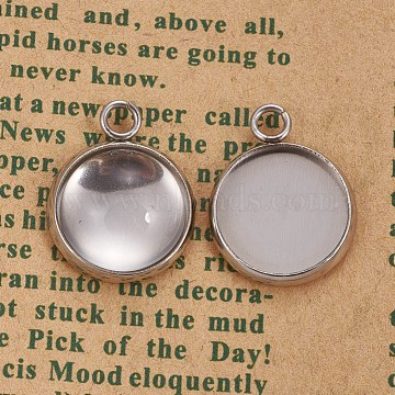 DIY Pendant Making, with 304 Stainless Steel Pendant Cabochon Settings and Transparent Half Round Glass Cabochons, Flat Round, Stainless Steel Color, Setting: 17.5x14x2mm, Hole: 2.5mm, Glass: 12x5.5mm(DIY-X0292-59P)