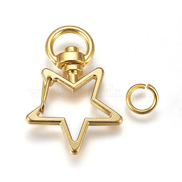 Zinc Alloy Swivel Lobster Clasps, with Open Jump Rings, Star, Golden, 35x24mm; 8x1mm(PALLOY-WH0041-01B)