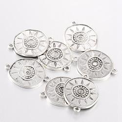 Lien de réglage émail alliage d'argent antique, plat et circulaire avec soleil, sans plomb et sans cadmium, 30x23x2.5mm, Trou: 2mm(X-EA474Y)