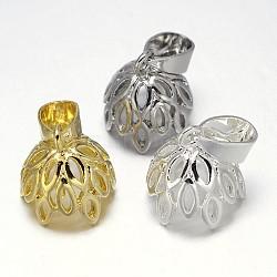 Support en filigrane placage soutiens-gorge tasse perle cheville bails broches pendentifs, pour la moitié de perles percées, couleur mixte, 13x13mm, trou: 7x4 mm; broches: 1 mm(KK-E738-11)