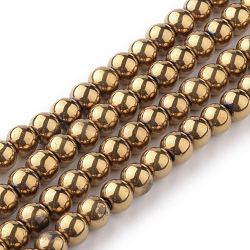 Round  Electroplate Glass Beads Strands, Golden Plated, 8mm, Hole: 1mm, about 40pcs/strand, 12.6 inches(X-JPS8MMY-R)