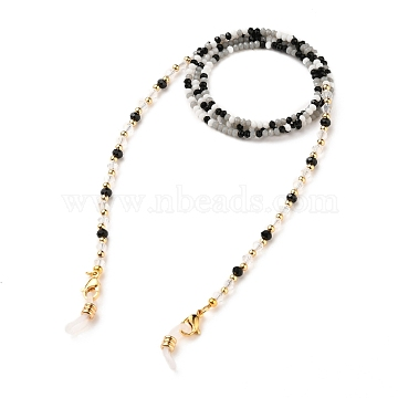 Eyeglasses Chains, Neck Strap for Eyeglasses, with Glass Beads, Brass Beads, 304 Stainless Steel Lobster Claw Clasp and Rubber Loop Ends, Golden, Colorful, 31.69 inches(80.5cm)(AJEW-EH00245-01)