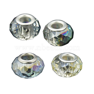 Glass European Beads, Half Plated, with Brass Double Cores, Faceted, Rondelle, Mixed Color, 14x9mm, Hole: 5mm(GPDL-H005-M)