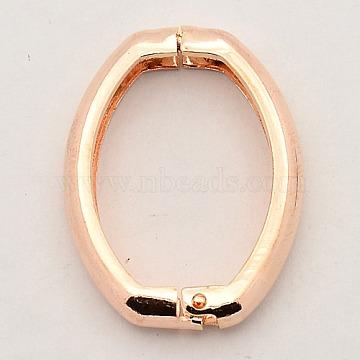 Brass Shortener Clasps, Twister Clasps, Oval Ring, Rose Gold, 27x20x3.5mm(KK-M004-01RG)