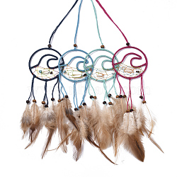 Chicken Feather Handmade Woven Net/Web with Feather Big Pendants, with Natural Wood Beads, Natural Shell, Cotton and Waxed Cord, Sea Wave, Mixed Color, 190~230x65x4~5mm(AJEW-S080-002)