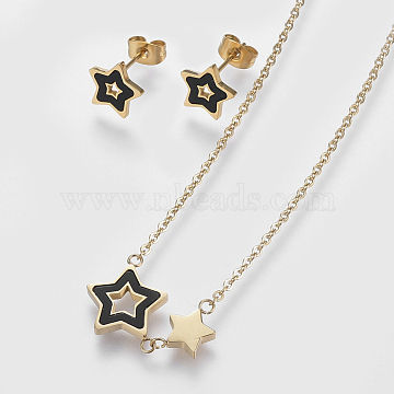 304 Stainless Steel Jewelry Sets, Stud Earrings and Pendant Necklaces, with Black Lip Shell, Star, Golden, Necklace: 18.5inches(47cm); Stud Earrings: 9x9.5x1.2mm; Pin: 0.8mm(X-SJEW-O088-05G)