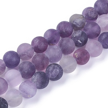 Natural Fluorite Beads Strands, Frosted, Round, 6mm, Hole: 0.8mm, about 62~63pcs/strand, 14.7~15.1 inches(37.5~38.5cm)(G-F642-07-A)