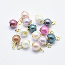 Breloques en fer avec perles de nacre en verre, rond, or, couleur mixte, 13x8mm, Trou: 2mm(X-HY-K005-01)