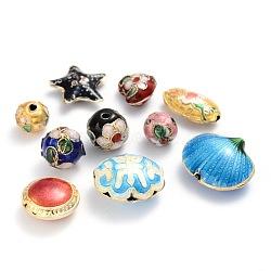 Perles en cloisonné main mélangent, couleurs assorties, environ 3~20 mm de large, Longueur 6~25mm, Trou: 1~2mm(M-CLB001)