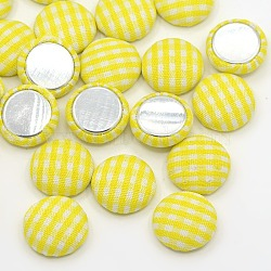 Accessoires de vêtement scrapbook embellissements flatback tartan demi-rond dôme tissu recouvert de tissu cabochons, avec fond en aluminium, de couleur métal platine , jaune, 14.5x4mm(X-WOVE-F012-01)