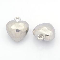 Пластиковые сердечные кулоны ccb, граненые, платина, 20x18x11 мм, отверстие : 2 мм(CCB-J030-63P)