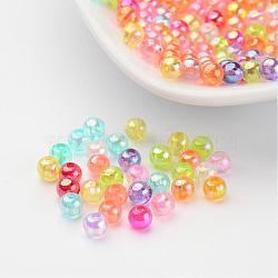 Perles d'acrylique de couleur ab transparentes, rond, couleur mixte, 4mm, Trou: 1.5mm(X-PL731M)