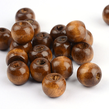 Natural Wood Beads, Bright Color, Round, Dyed, Saddle Brown, 8x7mm, Hole: 3mm(X-W02KM0U6)