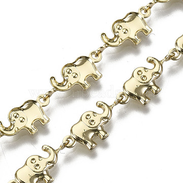 Brass Elephant Link Chains, for Jewelry Making, Long-Lasting Plated, Unwelded, Light Gold, 6.5x15x2.5mm(CHC-N018-052)