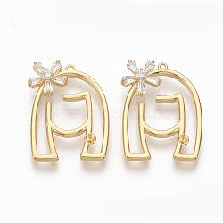 pendentifs en laiton, pour la moitié de perles percées, avec de la zircone cubique clair, sans nickel, visage de fille, réel 18 k plaqué or, 22.5x16x4 mm, trou: 1 mm; broches: 0.6 mm(ZIRC-Q021-084G-NF)