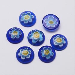 main cabochons en verre millefiori, conception de fleur unique, demi-tour / dôme, bleu, 12x3.5 mm(G-F346-01A)
