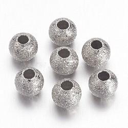 Perles rondes texturées en laiton de couleur nickel, sans nickel, taille: environ 4mm de diamètre, Trou: 1mm(X-EC247-NF)