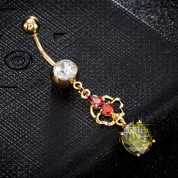 Eco-Friendly Brass Cubic Zirconia Navel Ring, Belly Rings, with Use Stainless Steel Findings, Real 18K Gold Plated, Flower with Flat Round, Olive, 49x9mm, Pin: 1.5mm(AJEW-EE0004-30B)