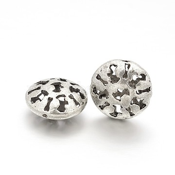 Tibetan Style Alloy Hollow Flat Round Beads, Antique Silver, 16x8mm, Hole: 1mm(PALLOY-J577-05AS)