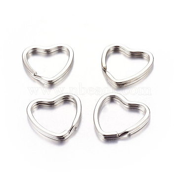 Heart Iron Split Key Rings, Keychain Clasp Findings, Valentine's Jewelry Findings, Platinum Color, about 31mm in diameter, 3mm thick, 25mm inner diameter(X-E564-2)