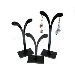 Black Pedestal Display Stand, Jewelry Display Rack, Earring Tree Stand, Black, 5.8~7x8.5~14.5cm, 3 Stands/Set(X-PCT038-3)