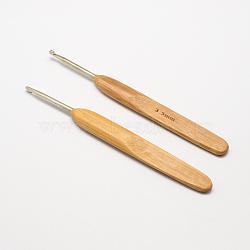 Bambou poignée fer aiguilles crochet de crochet, Pérou, broche: 3.5 mm; 133~136x13x7 mm(TOOL-R034-3.5mm)