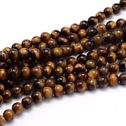 """Chapelets de perles d'œil de tigre naturel, Grade a, rond, 8mm, trou: 1mm; environ 48 pcs/chapelet, 15""""(X-G-J303-11-8mm)"""
