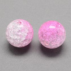 Perles acryliques craquelées transparentes à deux tons, moitié peint à la bombe, rond, pearlpink, 8mm, trou: 2 mm; environ 1892 pcs / 500 g(CACR-R009-8mm-06)
