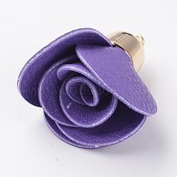Fleur rose PU pendentif en cuir décorations, avec accessoires en plastique CCB plaqué or, blueviolet, 45~48x30mm, Trou: 2mm(CCB-L003-05)