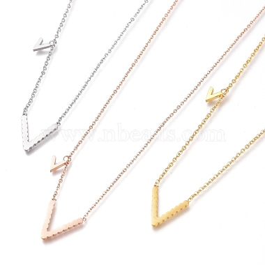 304 Stainless Steel Initial Pendant Necklaces(NJEW-I240-06)-1