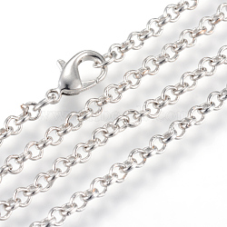 Iron Rolo Chains Necklace Making, with Lobster Clasps, Soldered, Platinum, 23.6 inches(60cm)(X-MAK-R015-60cm-P)