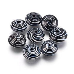 Perles de verre soufflées faites à la main, plat rond, noir, 19~21x11.5~12.5mm, Trou: 1~2mm(X-BLOW-E002-02)