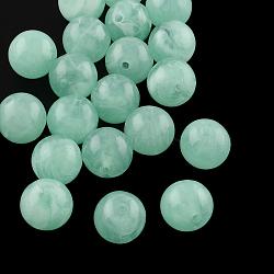 Perles rondes en acrylique d'imitation pierre précieuse, aigue-marine moyen, 8mm, Trou: 2mm(X-OACR-R029-8mm-26)