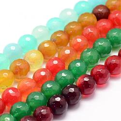 Natural Agate Bead Strands, Round, Faceted, Dyed & Heated, Mixed Color, 10mm, Hole: 1mm; about 37~38pcs/strand, 14.5inches