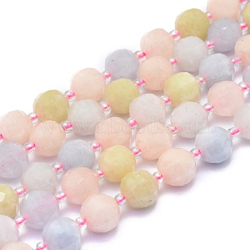 Natural Morganite Beads Strands, Round, Faceted, 9~10mm, Hole: 1.4mm; about 34pcs/Strand, 15.16''(38.5cm)(G-K306-A13-10mm)