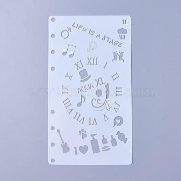 Plastic Drawing Painting Stencils Templates, Clock, White, 17.4x9.6x0.02mm(DIY-WH0143-18L)