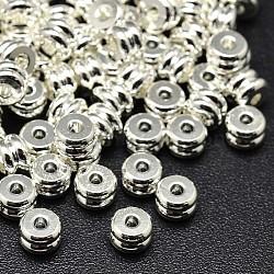 Perles de colonne de cuivre de l'environnement, sans plomb et sans cadmium et sans nickel, argenterie, 6x4mm, Trou: 1mm(X-KK-M085-17S-NR)