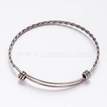 304 Stainless Steel Bangles, Stainless Steel Color, 63mm(X-BJEW-H468-P)