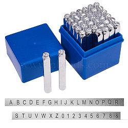 timbres de sceau de fer, y compris la lettre a ~ z, nombre 0~8 et esperluette &, platine, 60x6x6 mm(AJEW-BC0005-47)