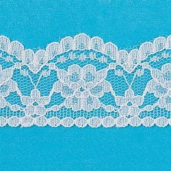 "Ruban en nylon avec garniture en dentelle pour la fabrication de bijoux, blanc, 1-1/4"" (33mm); Environ 300 heures / rouleau(ORIB-F003-223)"