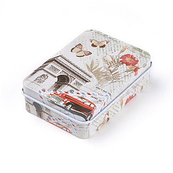 Mini Cute Tinplate Storage Box, Jewelry Box, Candy Box, Rectangle with Triumphal Arch Pattern, Colorful, 9.5x6.9x2.6cm(X-CON-WH0061-A05)