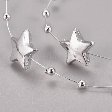 Plastic Bead Garland Strand, Great for Door Curtain and Wedding Decoration DIY Material, Star and Round, Silver, Star: 15x15x4.5mm, Round beads: 3mm, about 30m/roll(OACR-WH0003-13A)