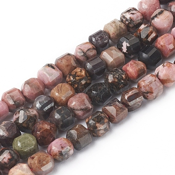 Natural Rhodonite Beads Strands, Faceted, Cube, 6~6.5x6~6.5x6.5mm, Hole: 1mm, about 62pcs/strand, 14.8 inches(37.6cm)(X-G-I270-07)