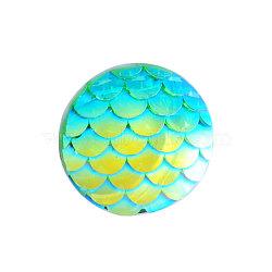 Cabochons en résine, plat rond avec écaille de sirène, cyan, 12x3mm(X-CRES-Q191-HA023-3)